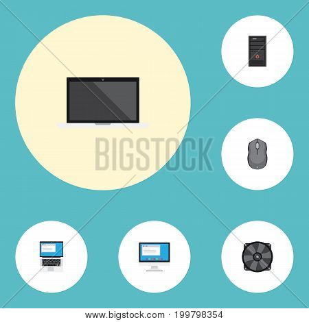 Flat Icons System Unit, Laptop, Computer Mouse And Other Vector Elements