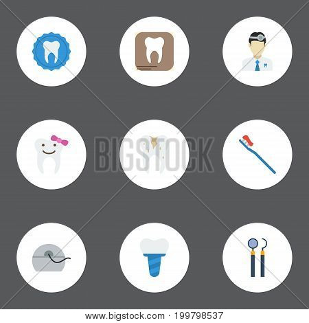 Flat Icons Halitosis, Hygiene, Radiology And Other Vector Elements