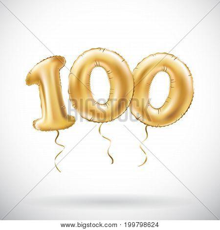 Vector Golden Number 100 Hundred Metallic Balloon. Party Decoration Golden Balloons. Anniversary Sig