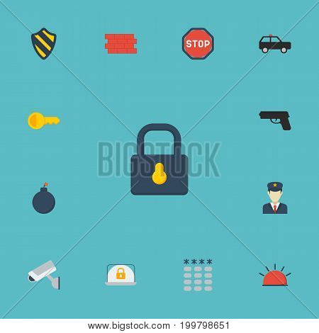 Flat Icons Keypad, Armored Car, Brick Wall And Other Vector Elements