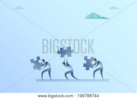Group Of Business People Carry Puzzle Parts Teamwork Cooperation Concept Flat Vector Illustration