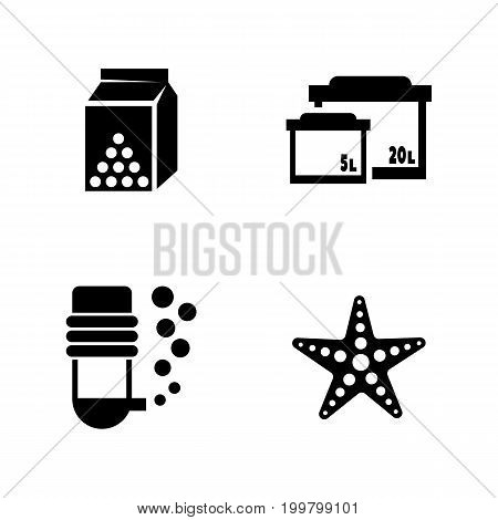 Aquarium. Simple Related Vector Icons Set for Video, Mobile Apps, Web Sites, Print Projects and Your Design. Black Flat Illustration on White Background.