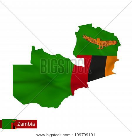 Zambia Map With Waving Flag Of Country.