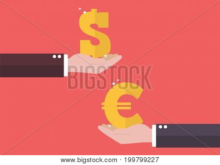 Currency exchange Euro and Dollar. Business concept