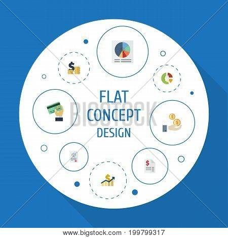 Flat Icons Coins Pile, Profit, Act And Other Vector Elements