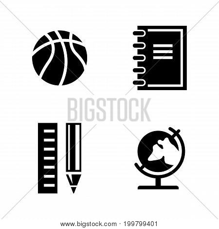 Studying. Simple Related Vector Icons Set for Video, Mobile Apps, Web Sites, Print Projects and Your Design. Black Flat Illustration on White Background.