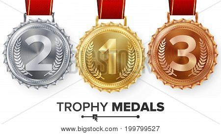 Winner Gold, Silver, Bronze Medals Set Vector. Metal Realistic Badge With First, Second, Third Placement Achievement. Round Label With Red Ribbon. Competition Golden