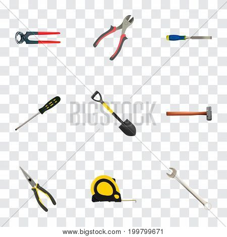 Realistic Forceps, Chisel, Spade And Other Vector Elements