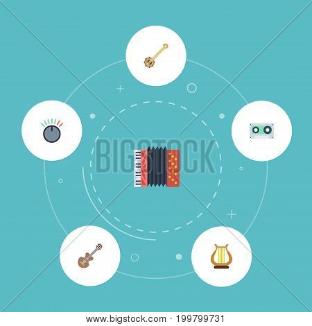 Flat Icons Harmonica, Knob, Banjo And Other Vector Elements