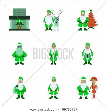 assembly of flat illustration Santa Claus Christmas
