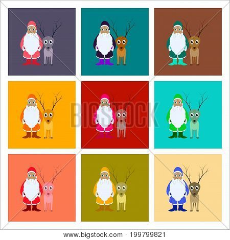 assembly of flat illustration Santa Claus Reindeer
