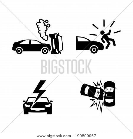 Crashed Cars. Simple Related Vector Icons Set for Video, Mobile Apps, Web Sites, Print Projects and Your Design. Black Flat Illustration on White Background.