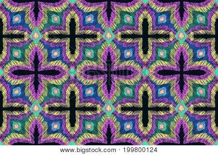 Pattern Embroidery Oranment Aztec Fashion Ethnic Fabric Design 2