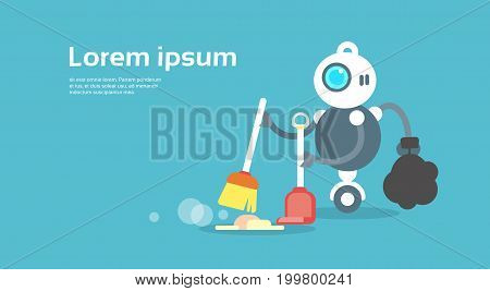 Modern Robot Sweeping Floor Artificial Intelligence Technology Concept Flat Vector Illustration