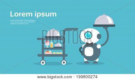 Modern Robot Waiter Artificial Intelligence Technology Concept Flat Vector Illustration
