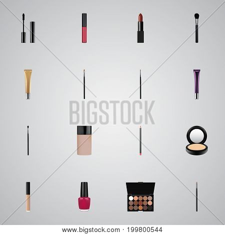 Realistic Eyelashes Ink, Contour Style Kit, Beauty Accessory And Other Vector Elements