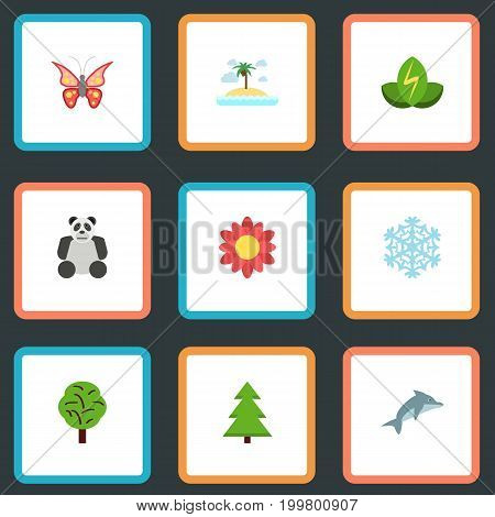 Flat Icons Isle Beach, Wood, Beauty Insect And Other Vector Elements