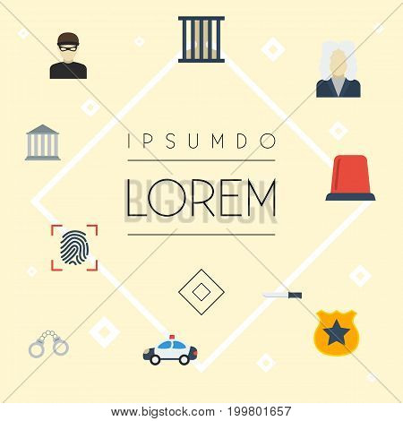Flat Icons Officer Emblem, Jail, Thumbprint And Other Vector Elements