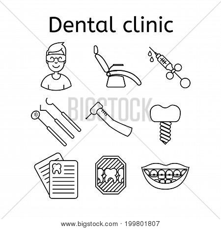 Set of dental clinic outline vector icons.