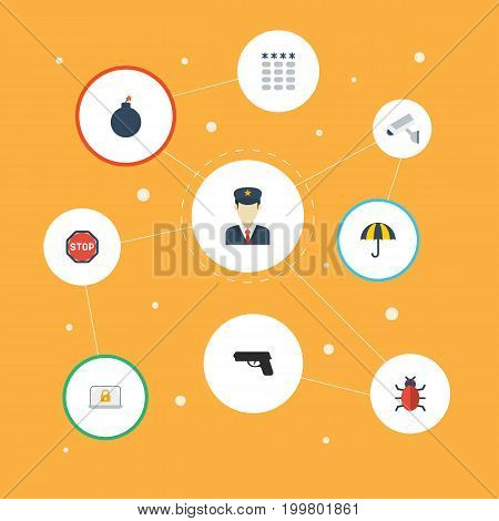 Flat Icons Parasol, Camera, Explosive And Other Vector Elements