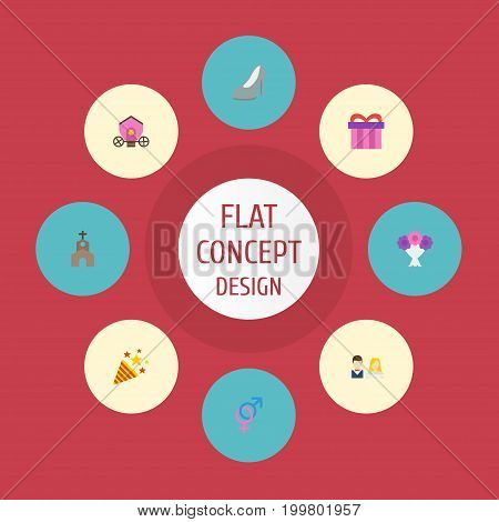 Flat Icons Sexuality Symbol, Posy, Building And Other Vector Elements