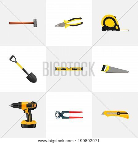 Realistic Plumb Ruler, Pliers, Hacksaw And Other Vector Elements