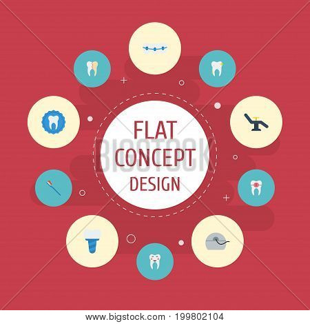 Flat Icons Brace, Furniture, Tooth Seal And Other Vector Elements