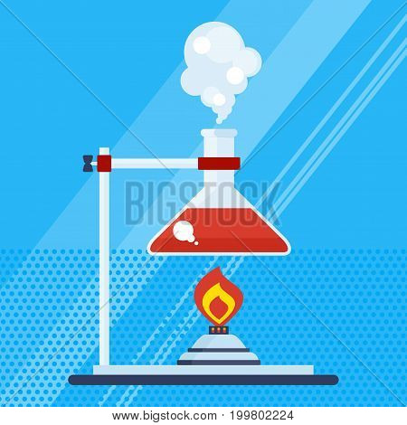 Poster with chemical equipment. Test tube and flack, chemical burner, laboratory, liquid. Studies and scientific experiments. Flat vector cartoon illustration. Objects isolated on background.