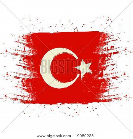 Symbol, poster, banner Turkey. Map of Turkey with the decoration of the national flag. Style watercolor drawing. Turkish map with national flag. Vector.