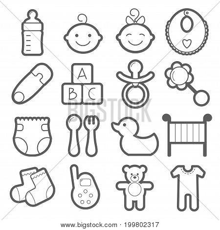 Baby icons set. Vector illustration isolated on white background.
