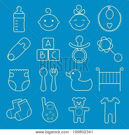 Baby icons set. Vector illustration isolated on blue background.