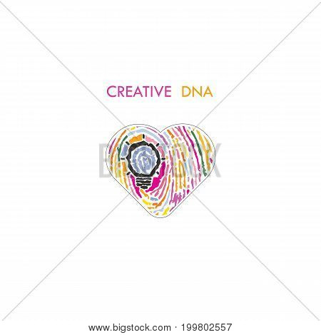 Creative light bulb idea concept and fingerprint pattern with heart symbol. Education or business ideas.Creativity or innovation concept.Constructionism and Knowledge management.Vector illustration