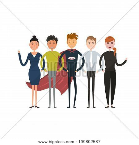 Business team of employees and the boss vector icon.Business company partners.Teamwork concept.Vector flat design illustration