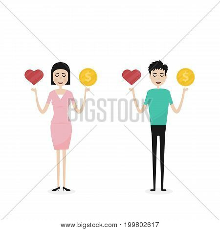 Business man and Business womanBusiness peopleManager or Official with the golden coins and red heart icon on his hand.Concept of work and life balance.Vector flat design illustration