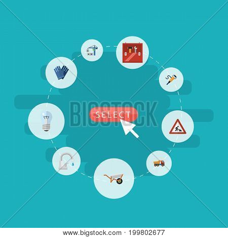 Flat Icons Pneumatic, Faucet, Toolkit And Other Vector Elements