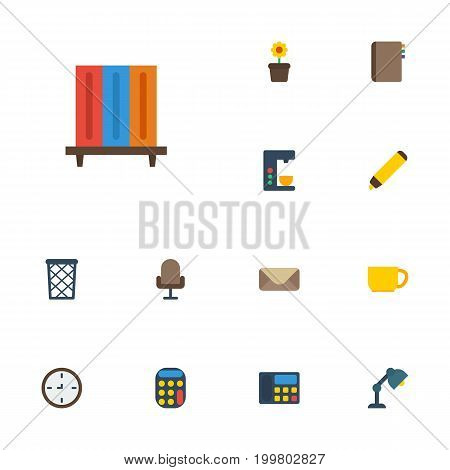 Flat Icons Watch, Tea, Phone And Other Vector Elements