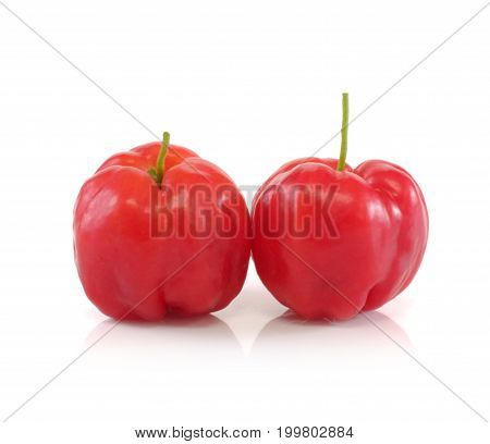 Acerola fruit close up on background .