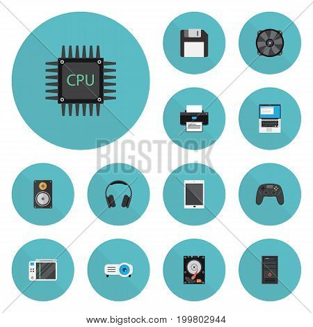 Flat Icons Printer, Controller, System Unit And Other Vector Elements