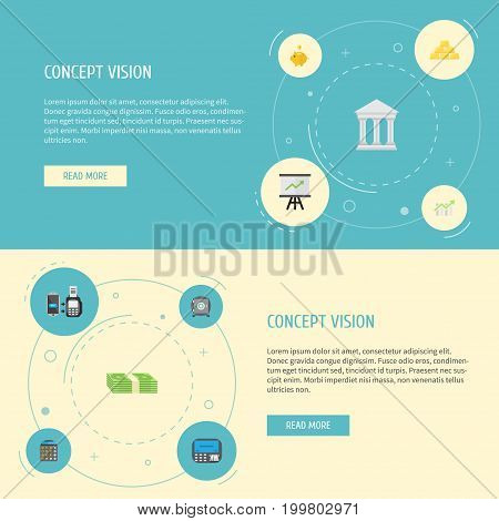Flat Icons Accounting, Money Box, Cash Stack And Other Vector Elements