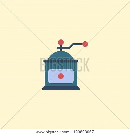 Flat Icon Mocha Grinder Element. Vector Illustration Of Flat Icon Coffee Mill Isolated On Clean Background