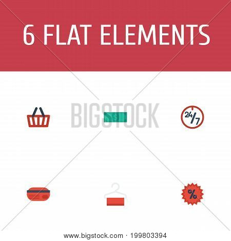 Flat Icons Cash , Percentage, Dress Stand Vector Elements