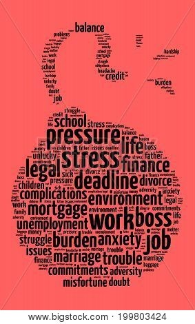 Stress word cloud text concept over red background