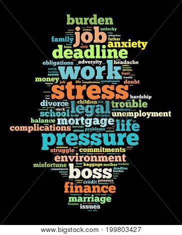 Stress word cloud text concept over dark background