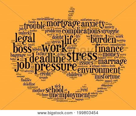 Stress word cloud text concept over orange background