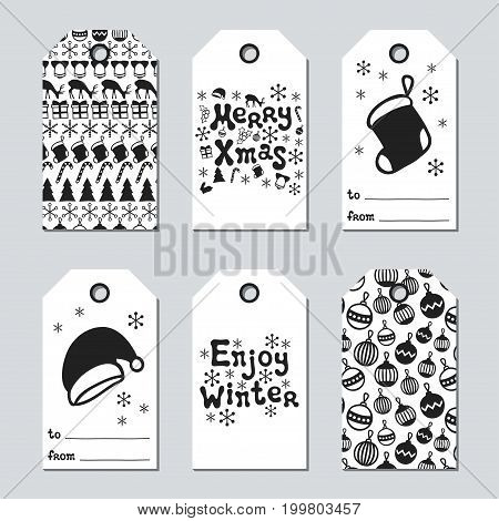 Christmas and New Year gift tags. Cards xmas set with hand drawing elements. Collection of holiday paper label in black and white. Seasonal badge sale design. Texture. Print. Vector illustration