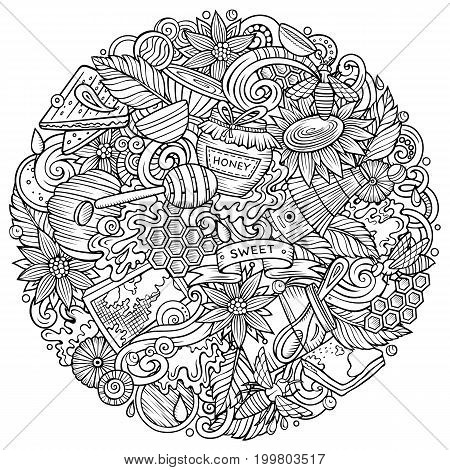 Cartoon vector doodles Honey illustration. Line art, detailed, with lots of objects background. All objects separate. Sketchy sweet funny round picture