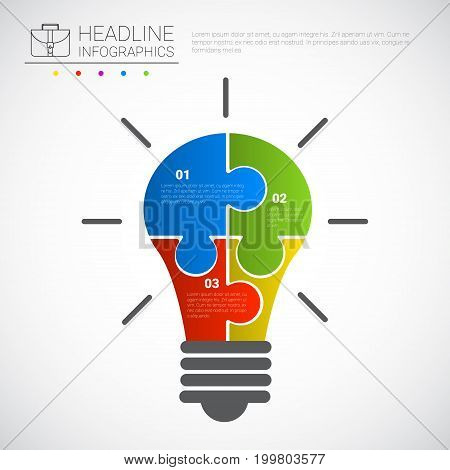 Headline Infographic Design Light Bulb Of Puzzle Pieces Business Data Graphic Copy Space Vector Illustration