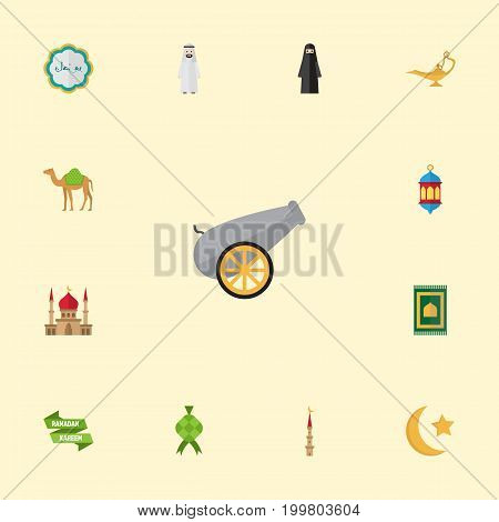 Flat Icons New Lunar, Minaret, Mosque And Other Vector Elements