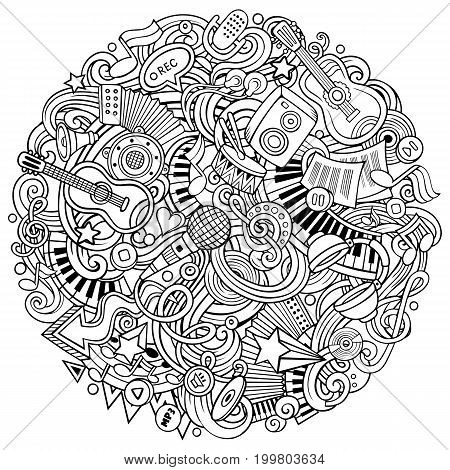 Cartoon vector doodles Music illustration. Line art, detailed, with lots of objects background. All objects separate. Sketchy musical funny round picture