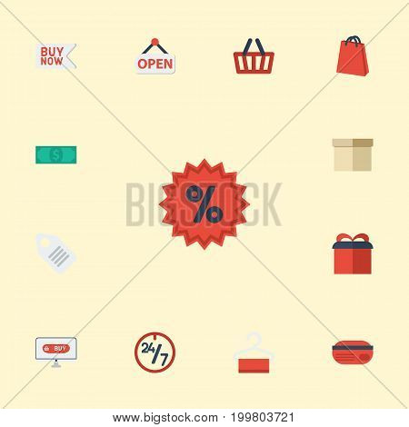 Flat Icons Sign, Buy Now, Present And Other Vector Elements